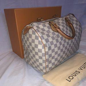 100% Authentic Louis Vuitton Speedy 30 Azur